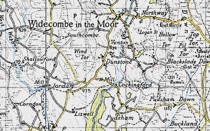 Old map of Wind Tor in 1946