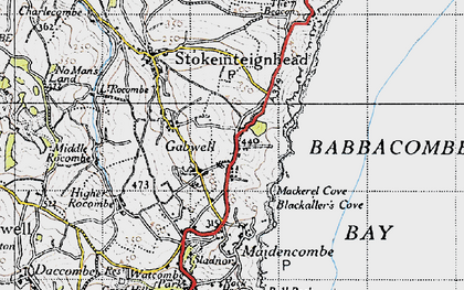 Old map of Babbacombe Bay in 1946