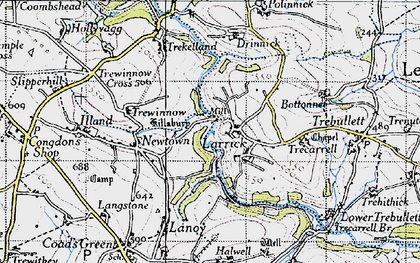 Old map of Higher Larrick in 1946