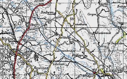 Old map of Higher Menadew in 1946