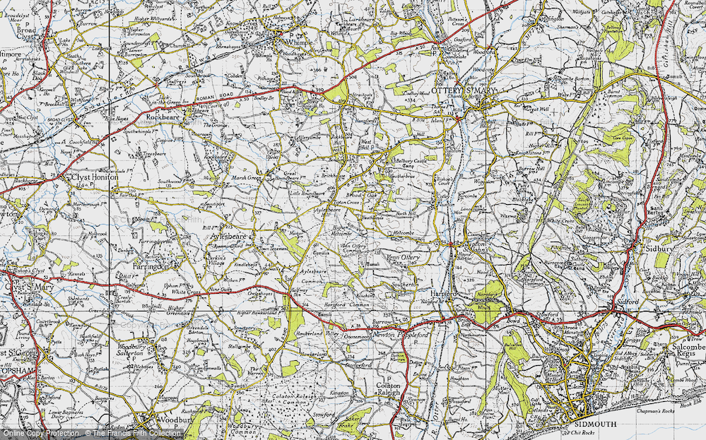 Old Map of Historic Map covering Aylesbeare Hill in 1946
