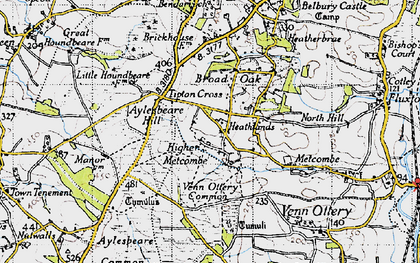 Old map of Tipton Cross in 1946