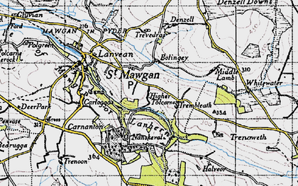 Old map of Higher Tolcarne in 1946