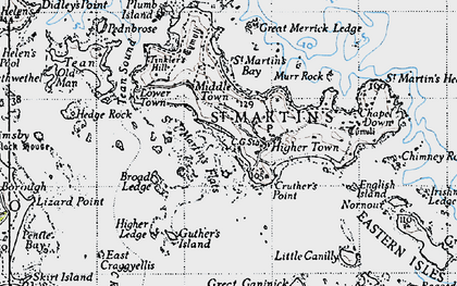 Old map of Eastern Isles in 1946