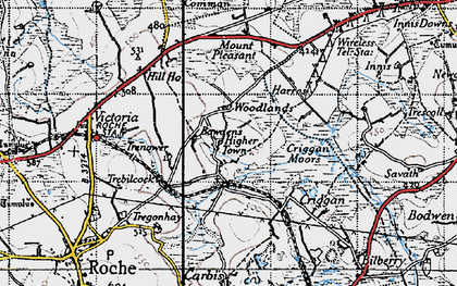 Old map of Higher Town in 1946