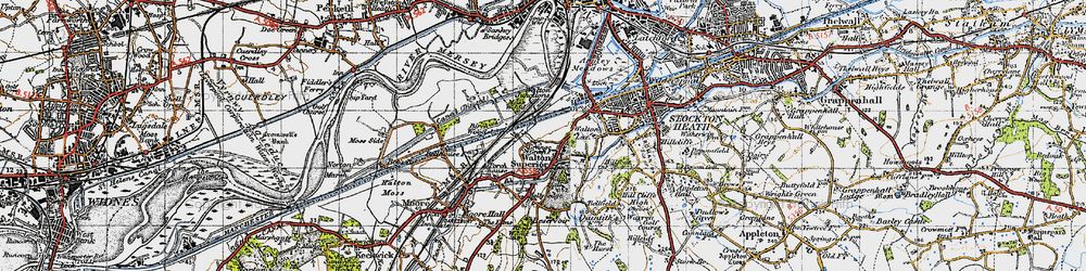 Old map of Higher Walton in 1947