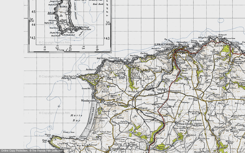 Old Map of Historic Map covering Lee Bay in 1946