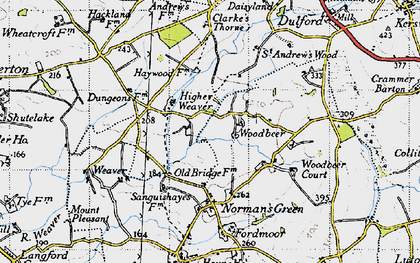 Old map of Woodbeer Court in 1946