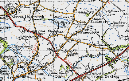 Old map of Wincham Hall (Hotel) in 1947