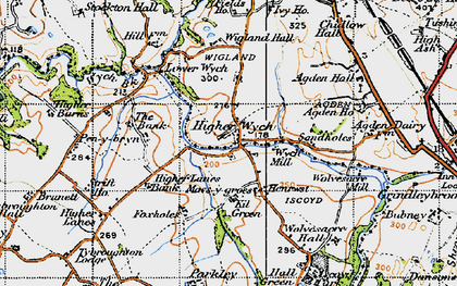 Old map of Sandholes in 1947
