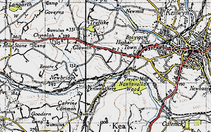 Old map of Highertown in 1946