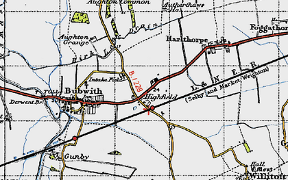 Old map of Aughton Common in 1947
