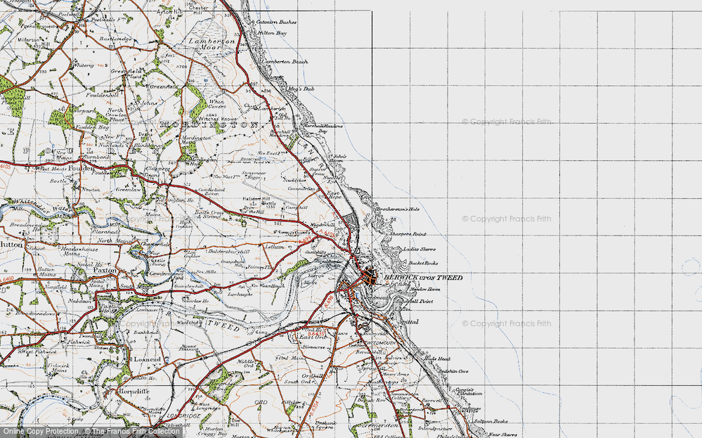 Old Map of Historic Map covering Letham Shank in 1947
