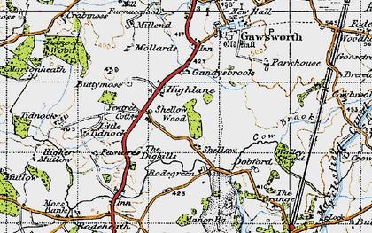Old map of Gandysbrook in 1947