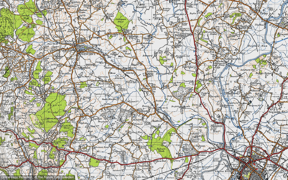 Old Map of Historic Map covering Limbury in 1947