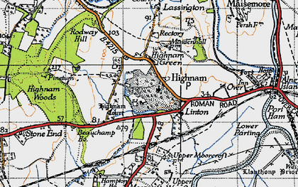 Old map of Highnam in 1947