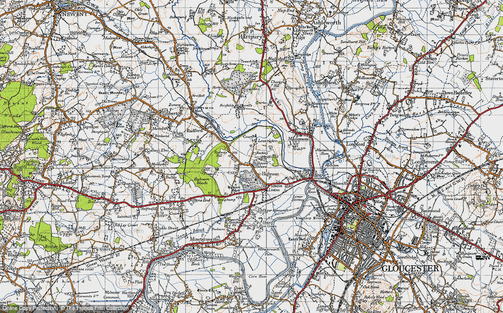 Old Map of Historic Map covering Lassington in 1947