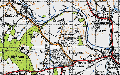 Old map of Lassington in 1947