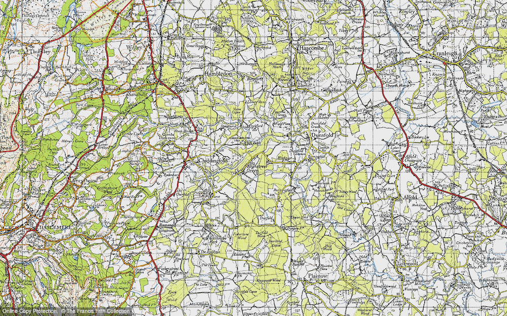 Old Map of Historic Map covering White Beech in 1940