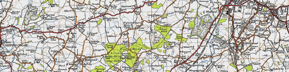 Old map of Writtle Park in 1946
