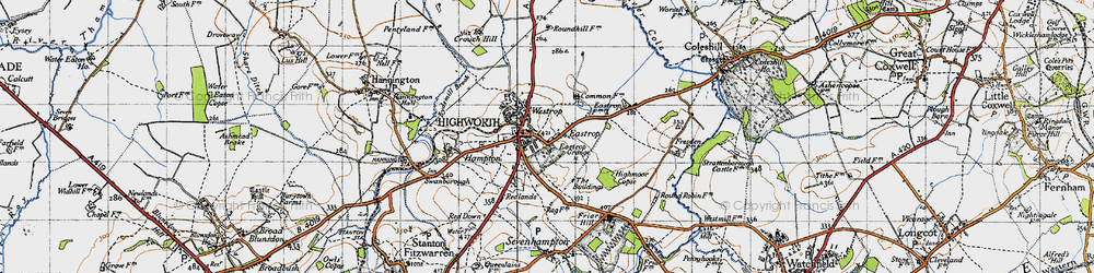 Old map of Highworth in 1947