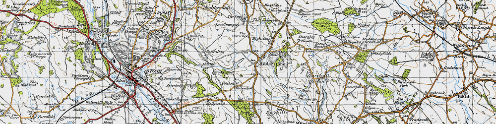 Old map of Wooliscroft in 1946