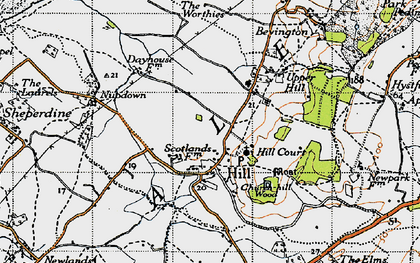 Old map of Hill in 1946