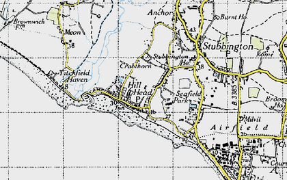 Old map of Hill Head in 1945