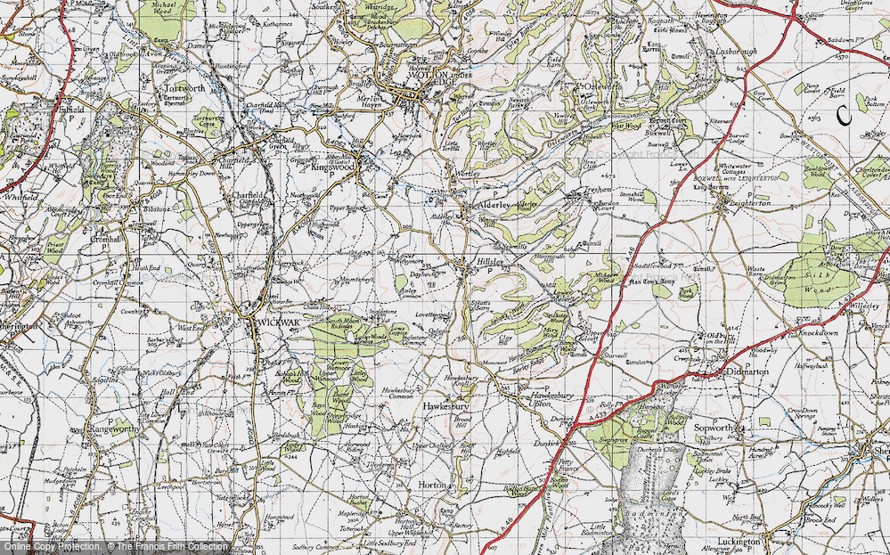 Old Map of Historic Map covering Assley Common in 1946