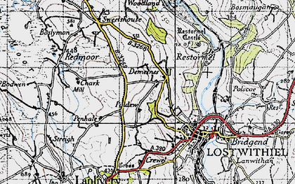 Old map of Hillhead in 1946