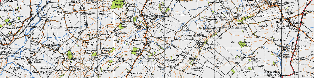 Old map of Hilmarton in 1947
