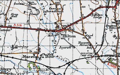 Old map of Hilton in 1946