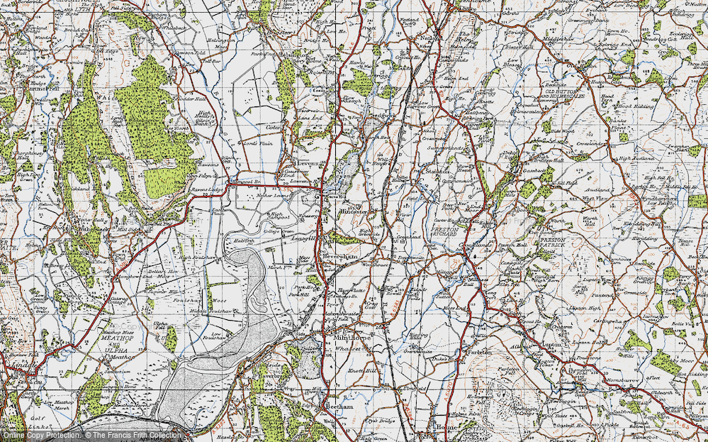 Old Map of Historic Map covering Levens Park in 1947