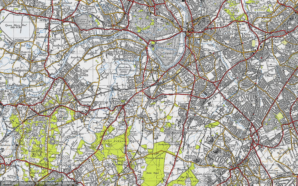 Old Map of Hinchley Wood, 1945 in 1945