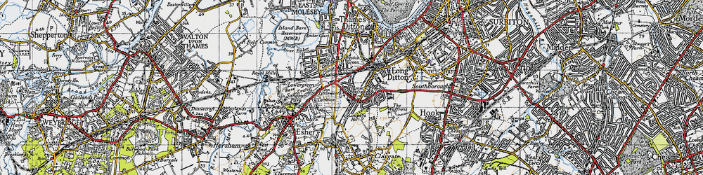 Old map of Hinchley Wood in 1945