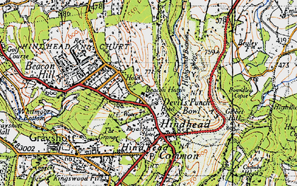 Old map of Hindhead in 1940