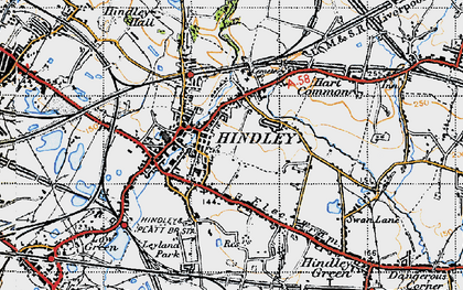 Old map of Hindley in 1947