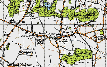 Old map of Wood Severals in 1946