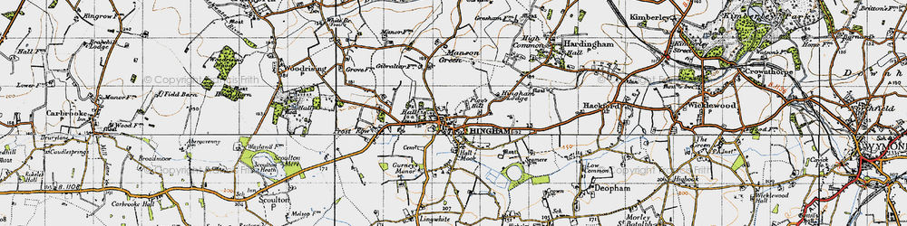 Old map of Hingham in 1946