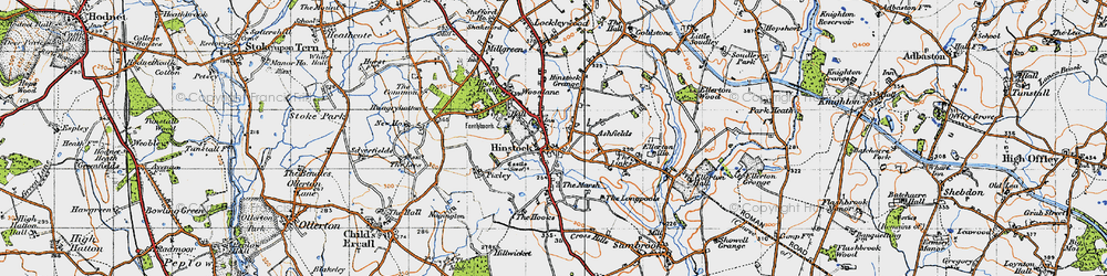 Old map of Hinstock in 1946