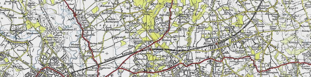 Old map of Hinton in 1940
