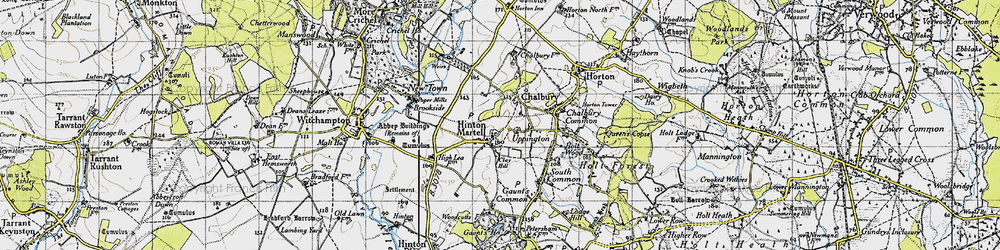 Old map of Hinton Martell in 1940