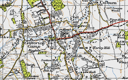 Old map of Hipswell in 1947