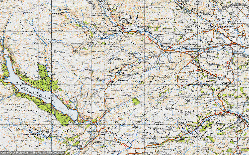 Old Map of Historic Map covering Bryn Coch in 1947
