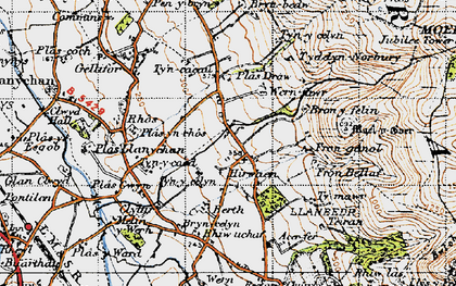 Old map of Hirwaen in 1947