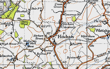 Old map of Wetherden Hall in 1946