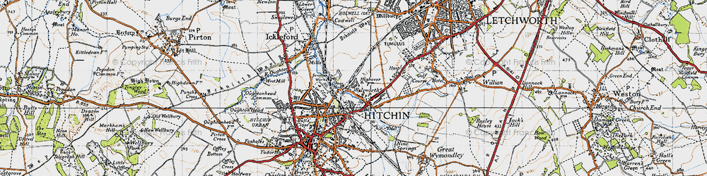 Old map of Hitchin in 1946