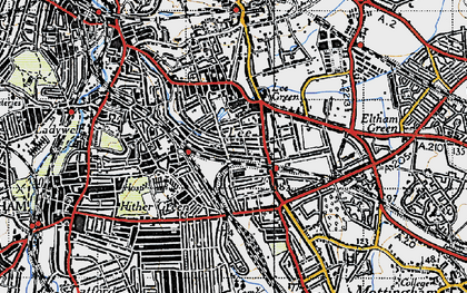 Old map of Hither Green in 1946