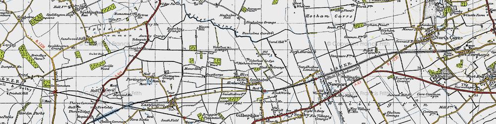 Old map of Yokefleet Lodge in 1947