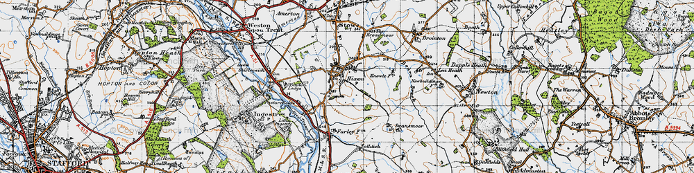 Old map of Hixon in 1946